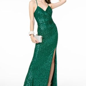 Green Spaghetti Straps Evening Long dress GL2918